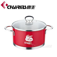 Charms color enamel cookware stainless steel cooking pots with metal lid