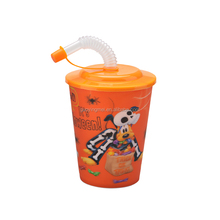 440ML 3D plastic drinking cup with lid & straw