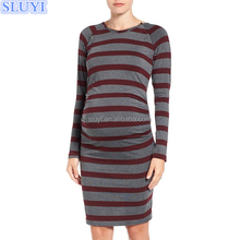 wholesale china manufacture maternity clothes long sleeve striped red ruched maternity nursing dress pregnant women dresses