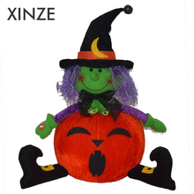 Halloween Battery operated stuffed witch doll with pumpkin body