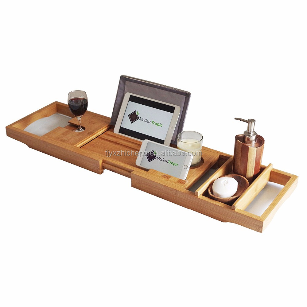 Wholesale BAMBOO Luxury Bathtub Caddy Tray with Sponge Dish and Wide Wine Glass Holder
