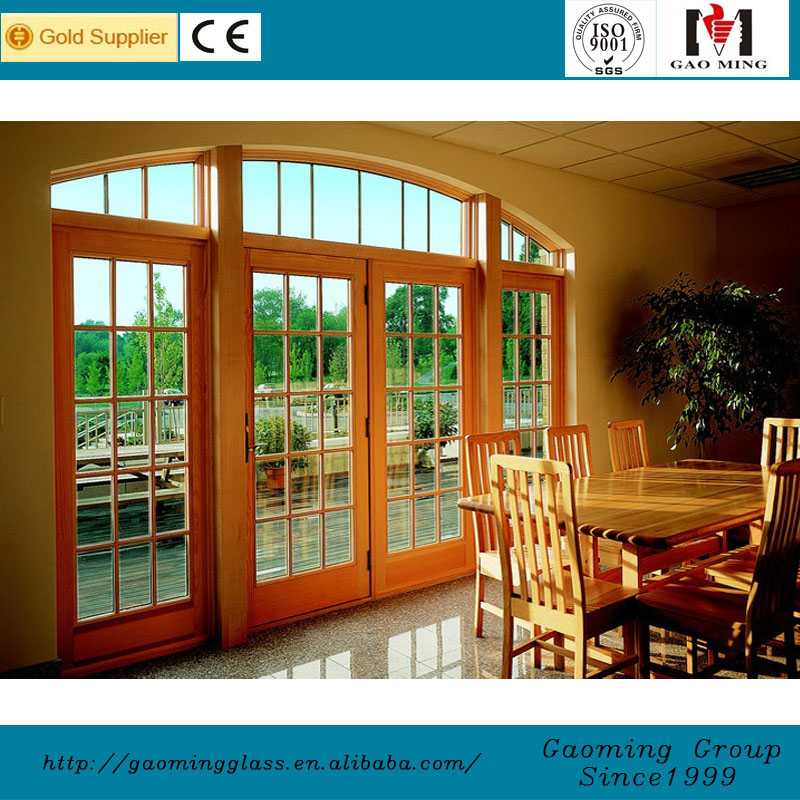 Aluminum frame arched french doors interior