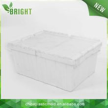 Plastic crate with lid stackable & nestable attached lid container large garden plastic storage boxes