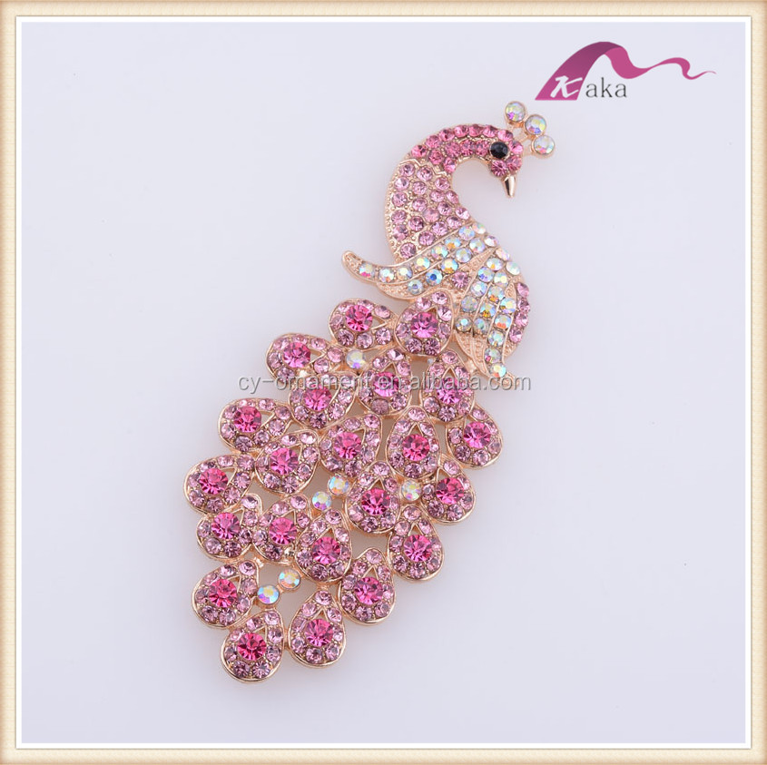Pink red rhinestone peacock brooch jewelry,fashion women hot selling custom animal brooch