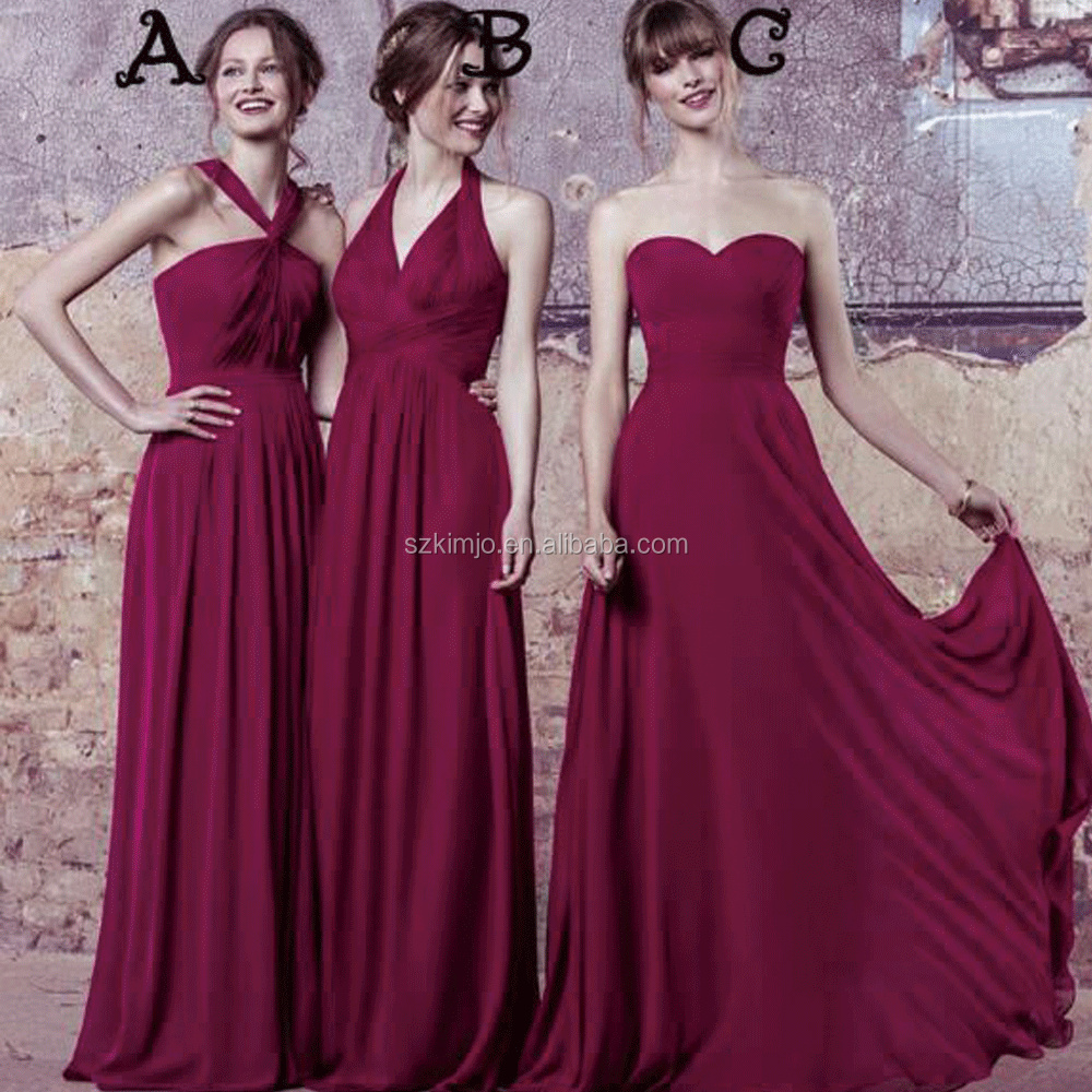 Mismatched Burgundy Bridesmaid Dresses Long Chiffon Cheap Wedding Party Dresses