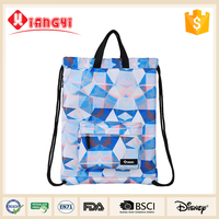 Low cost custom nylon foldable drawstring shopping bag with zipper