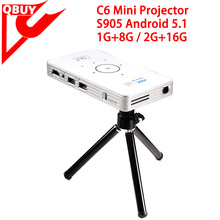 C6 LED android 5.1 Mini Smart Projector Home Cinema Theater Amlogic S905 Quad Core 1gb 8gb C6 Mini Projector
