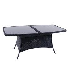 Leiaure style rattan rectangular table with tempered glass top dining table set