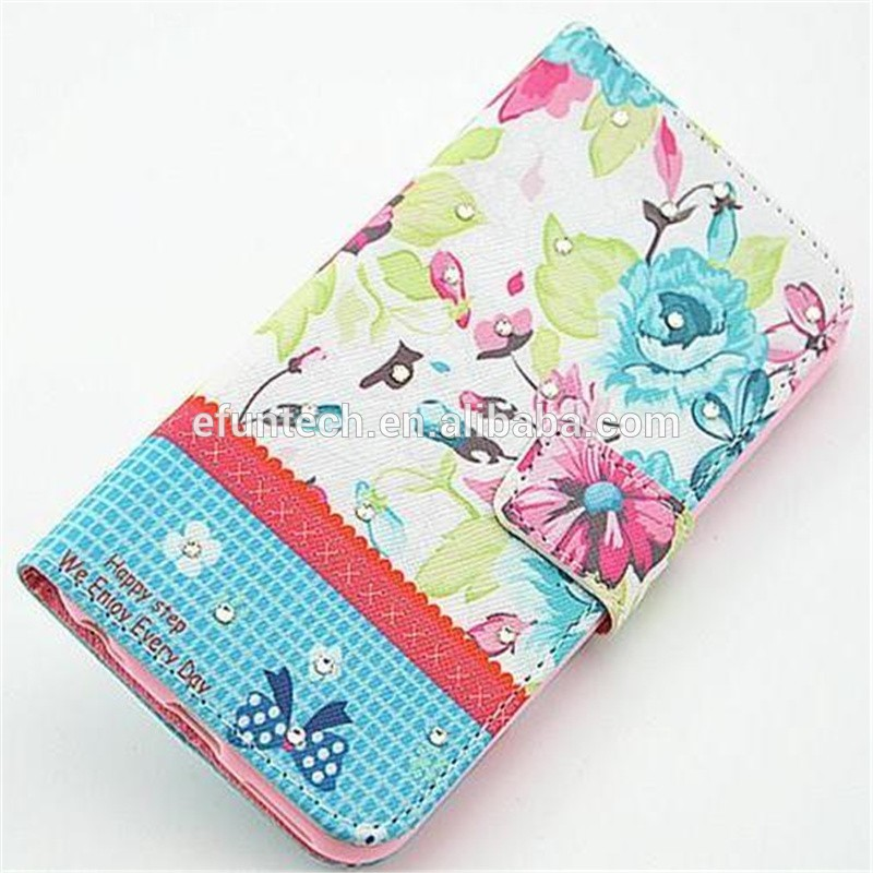 Mobile phone accessory flower PU leather wallet flip phone case for Nokia 630 1020