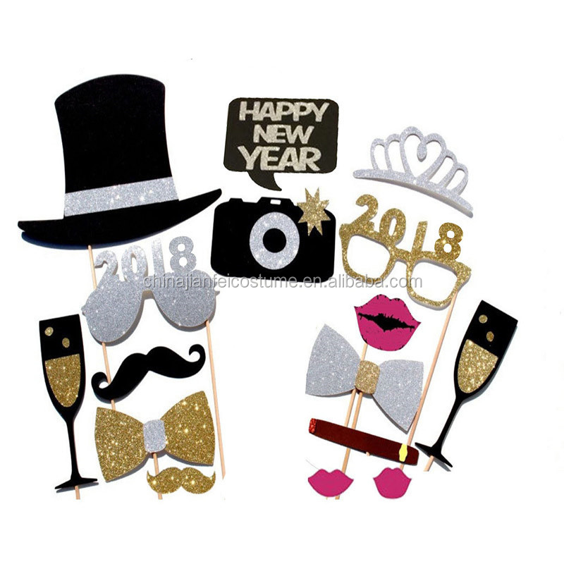Happy New Year 2018 DIY Photo Props New Year Party Hat Glasses Moustache Tie Decoration Props Supplies