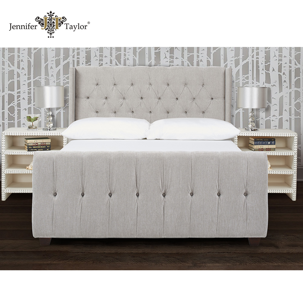 Home furniture strong quality upholstery bed/living room king size bed/ nailhead trimmed bed