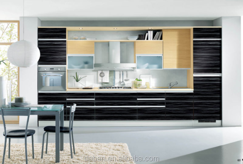 Wood Grain One Wall Kitchen Cabinet Aluminum Kitchen