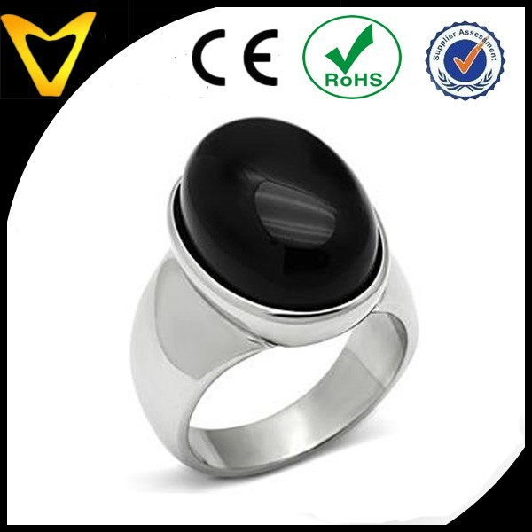 Fashionable 2015 Jewelry for Men, Stainless Steel Oval Shape Semi-Precious Black Onyx Stone Men's Ring, Stainless Steel Ring