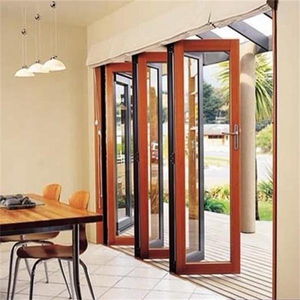 Wooden Color Clear Glass Aluminium Small Folding Door