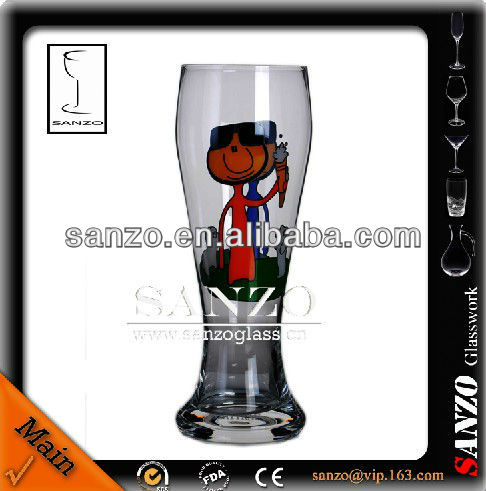 clear decaled fantasia beer glass cup