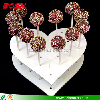 White lovely 2 tiers heart shape acrylic lollipop stand perspex desktop cake pop holder display rack