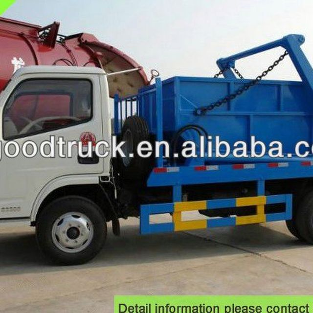 4000L Dongfeng swing arm garbage truck skip loader garbage truck refuse collection vehicle dustcart 0086-13635733504