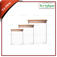 Christmas Special Clear Glass Jar Set of 3 with Bamboo with lid