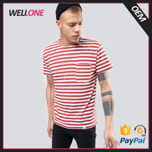 Wellone OEM high quality white red stripe 100% cotton custom design brand tshirt