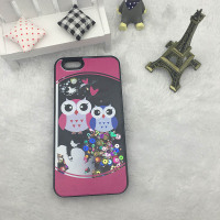 Newest Transparent Plastic cover for iphone 5 Owl Cute Liquid Star Cover For Iphone 6 ,for iphone 6S liquid cover