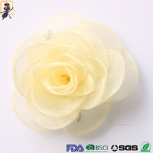 haoxie brand custom wholesale 3d mesh handmade flower decorative fabric stain silk rose flower for clothes or hair accessories