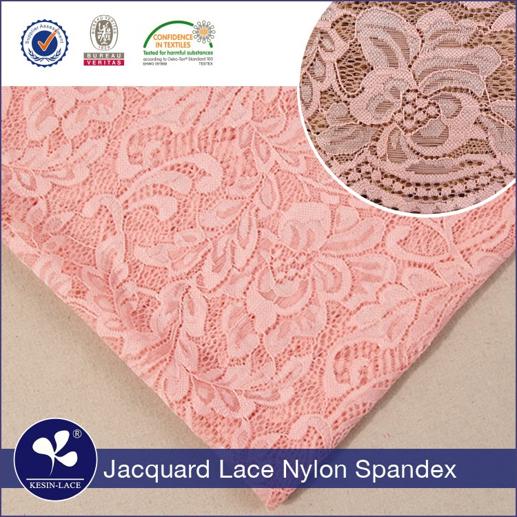 Fasion design high quality jacquard nylon spandex champagne underwear elastic jacquard raschel lace