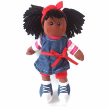 Factory Custom Plush Doll Black Girl 30cm With Hairs