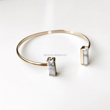 Inspire stainless steel jewelry wholesale custom cheap jewelry Double T White Stone Bangle