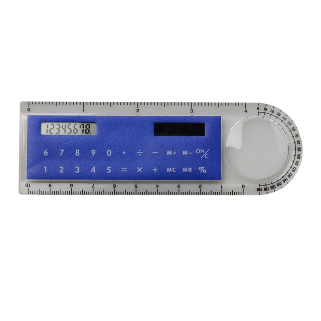 Hot selling solar power calculator with magnifier and protractor