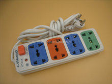 EU plug four color 8 gang Extension Surge Protector Socket With Wire For Universal Relay
