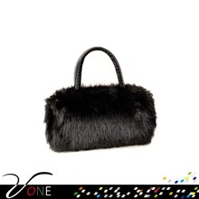 FUZZY PURSE DRESSY HANDBAG FLUFFY BAG LEATHER TOTES