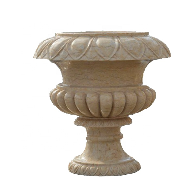 Customized size high quality garden white marble stone flower pot statue sculpture