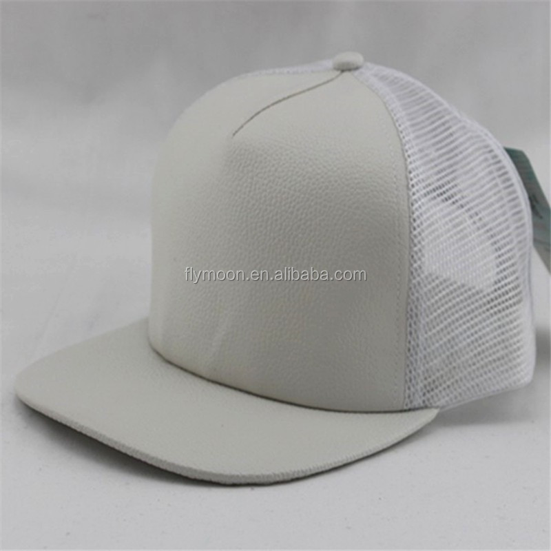 Blank Leather Mesh Flat Bill Sports Cap / Hat