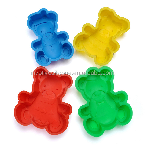 Stock Fancy Kids Bear Shape Silicone bakeware Set