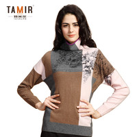 Ladies Cashmere Latest Design Winter Sweater, Ladies Contrast Color High Neck Sweater