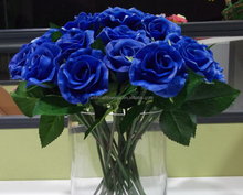 Wholesale real touch PU Artificial Dark Blue Roses for wedding decor