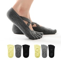 MEIKAN Cotton Anti Slip Soft Silicone Sole Dance Sox Custom Cross Strap Women Non Slip Grip Wholesale Yoga Grip Pilates Socks