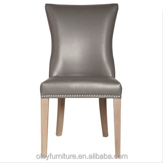 Sale dining room design gray <strong>leather</strong> solid wood good quality of furniture set the dining chair