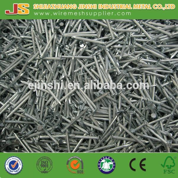 45# carbon wire rod 3.5mm Galvanized Diamond Point grooved shank Steel Twill concrete nails