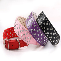 Factory Hot Selling Big Crystal Rhinestones PU Leather Pet Collars for Dogs