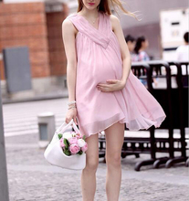 Hot Pregnant Woman dress pregnancy clothes Pink Summer Chiffon Maternity Dress for Women Mommy Dress Photography Prop