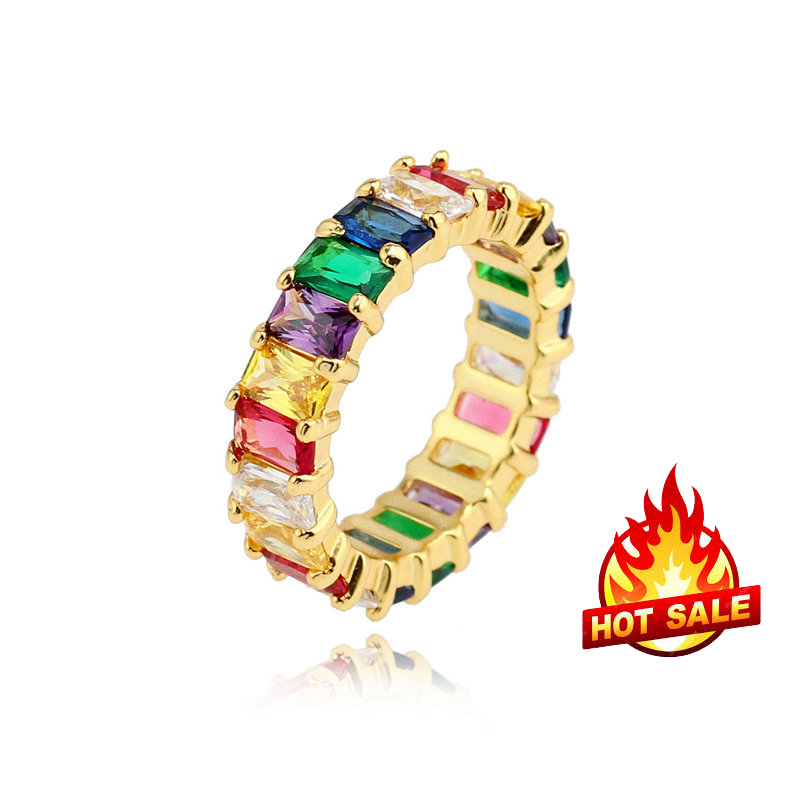 multi color cz jewelry baguette cubic zirconia <strong>rings</strong> for summer