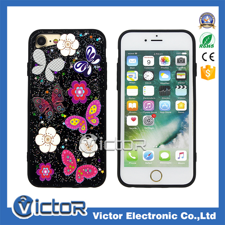 Combo TPU+PC Phone Case For Apple iPhone 7 With 3D Printing and 3D gule