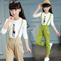 Children girls guss pants european style latest design khaki overalls long pants OEM in guangzhou garment factory