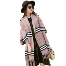 Oversized stole fashion lady winter stripe plaid Wraps Shawls scarf with Sleeves