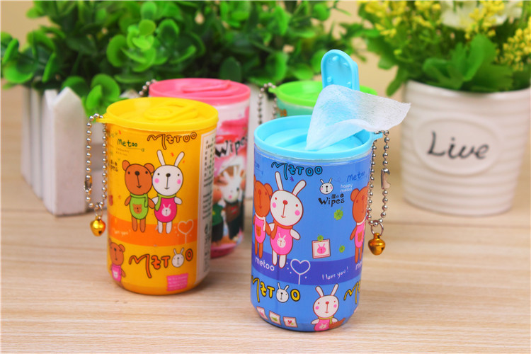 best sale mini canister wet wipes with keychain
