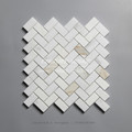 century 1''x2'' calacatta gold marble herringbone design mosaic tile for bathroom