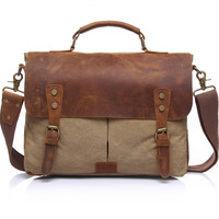 Retro Vintage Laptop Men Business Conference Waxed Canvas And Genuine Leather Briefcase