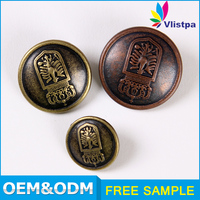 Custon men's apparel logo engraved metal button zinc alloy press stud
