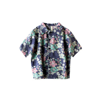 2019 Summer new children clothing Korean fashion shirts flowers cotton linen short-sleeved shirt
